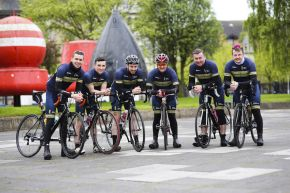 Pictured is the Ulster University team gearing up for the charity cycle ride.