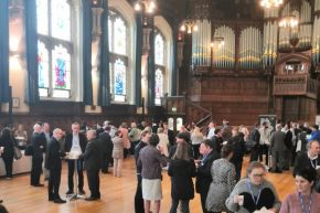 TMED10 participants networking - the Guildhall, Derry/Londonderry.