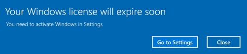 Windows licence expiry message