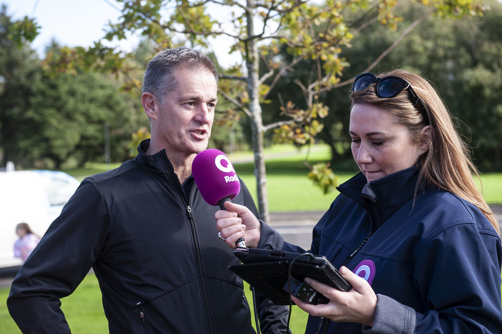 Nigel Dobson being interviewed for radio