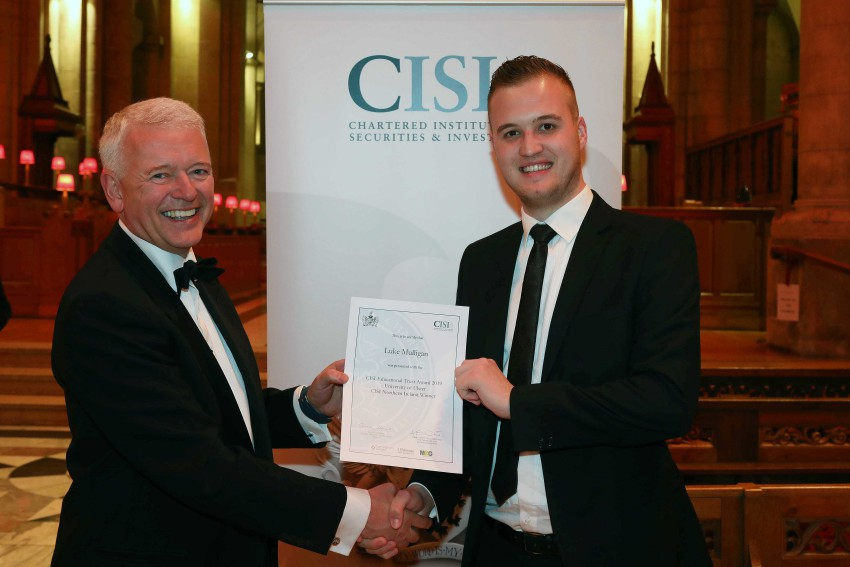 Luke being presented his prize by the CISI MD, Simon Culhane