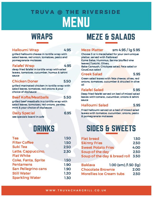 Truva Lunch menu