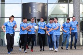 Ulster University's Gaelic football team at the launch of the 2016 Sigerson Cup.