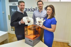 Dr Sandy McKinnon, Investment Director at Techstart NI; Daniel Crawford, Founder of Axial 3D and Caroline McGoran, Head of Investment and Enterprise at Ulster University.