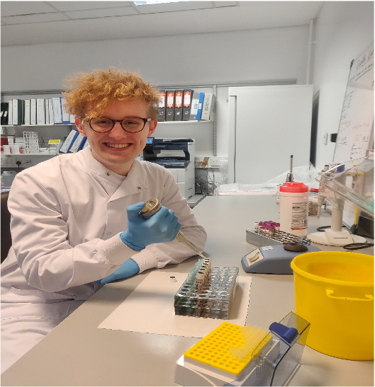 Male student in lab