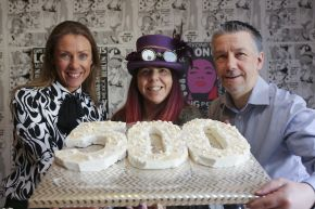 Pictured is Ulster University's Dr Amy Burns with owners of The Gourmet Mallow Company, Yolande and Alan Shannon.