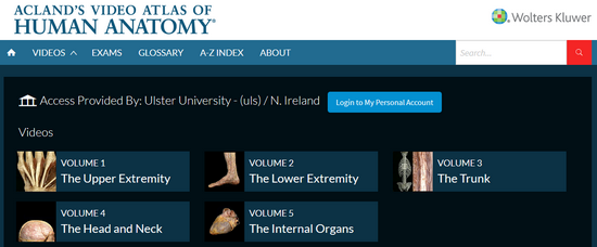 New E-Resource: Acland Anatomy - Ulster University Library Services