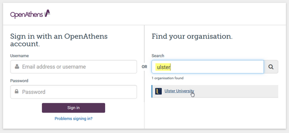 Generic OpenAthens login page