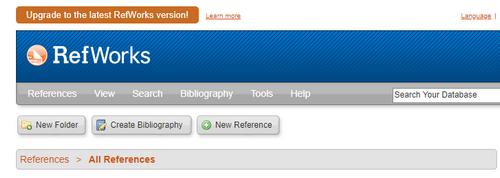 Screenshot of legacy RefWorks
