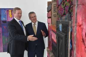Taoiseach, Enda Kenny TD admires final year art work with Ulster University Vice-Chancellor Professor Paddy Nixon during his visit to our Belfast campus.