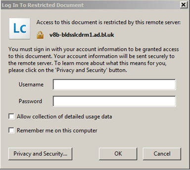 Adobe LifeCycle Login Box