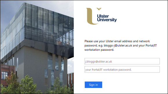 Ulster University sign-in page