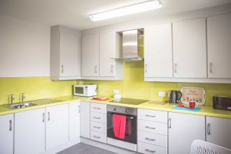 Kitchen area in1 bed apartment (suitable for 1-2 persons)