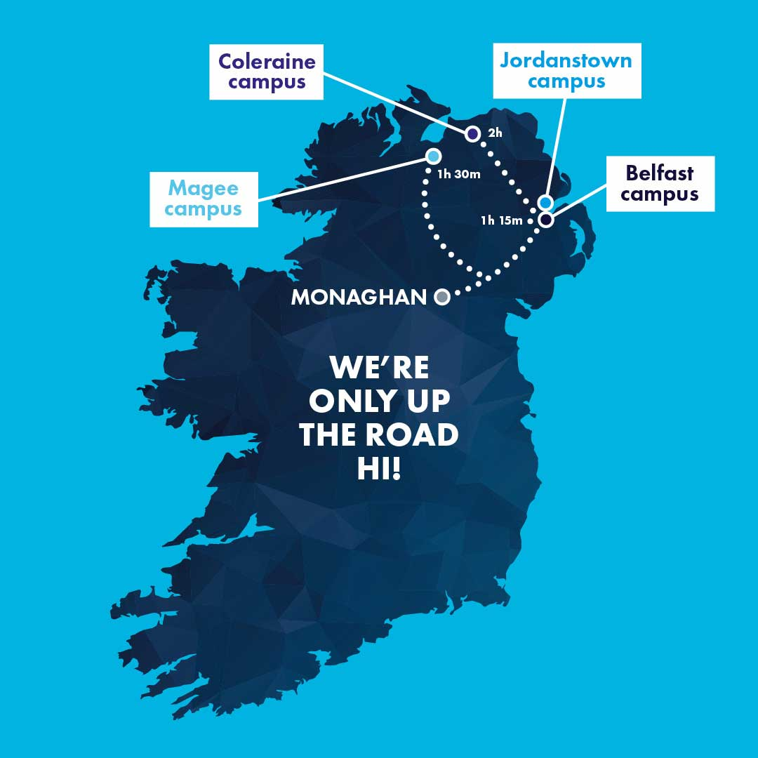 Travel time from Monaghan to Ulster University Campuses