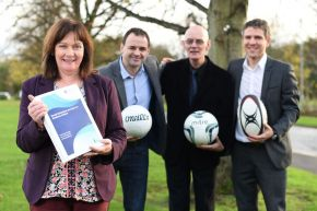 Ulster University's Professor Owen Hargie joined by junior minister Jennifer McCann and the Social Exclusion and Sport in Northern Ireland report's co-authors Dr David Mitchell & Dr Ian Somerville.