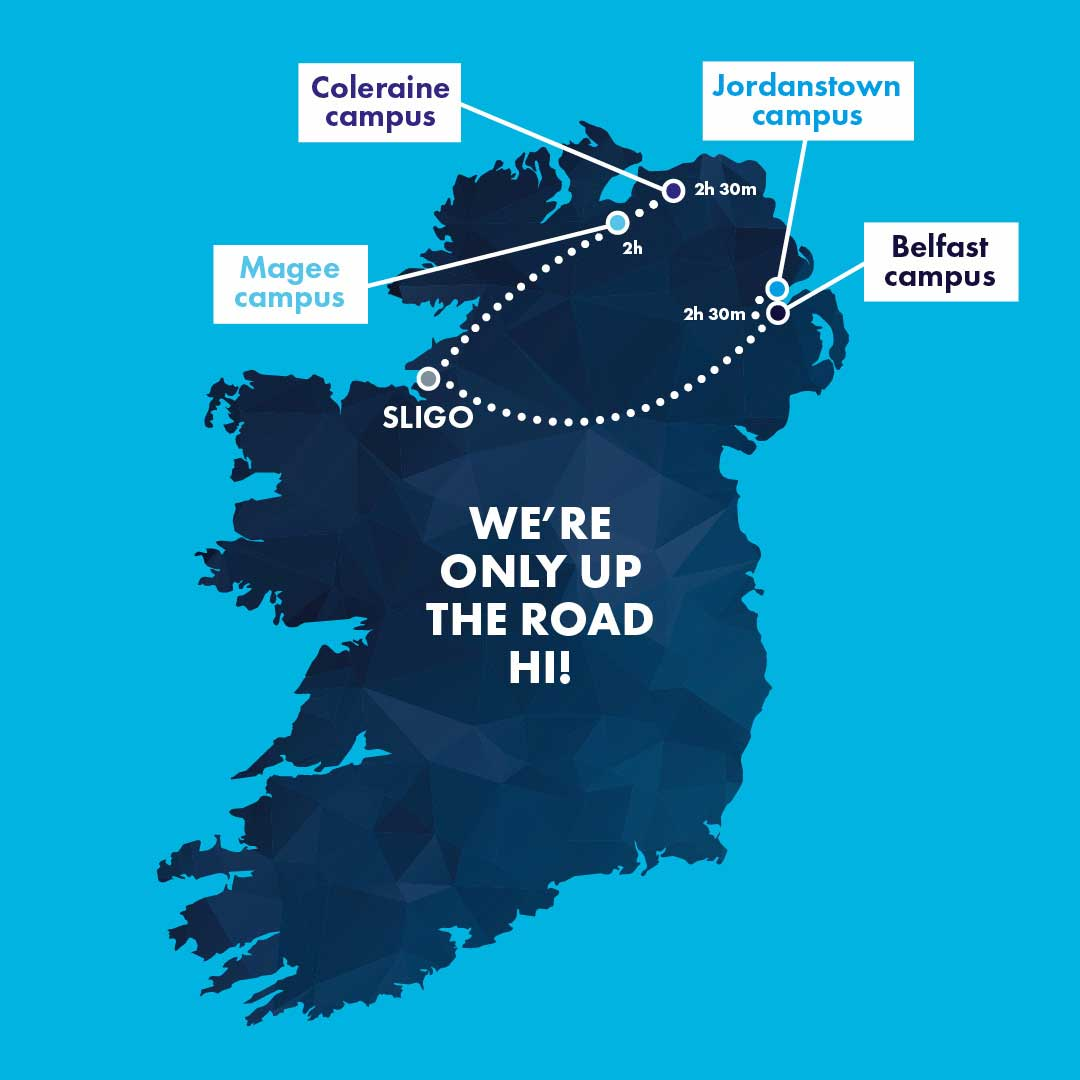 Travel time from Sligo to Ulster University Campuses