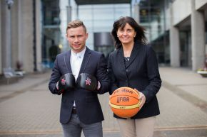 World Super Bantamweight champion, Carl Frampton, with Professor Deirdre Brennan, Ulster University, at the Sport Changes Life conference which explored the crucial role of sport in promoting positive social change.