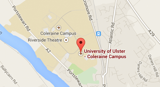 Map with directions to Coleraine campus