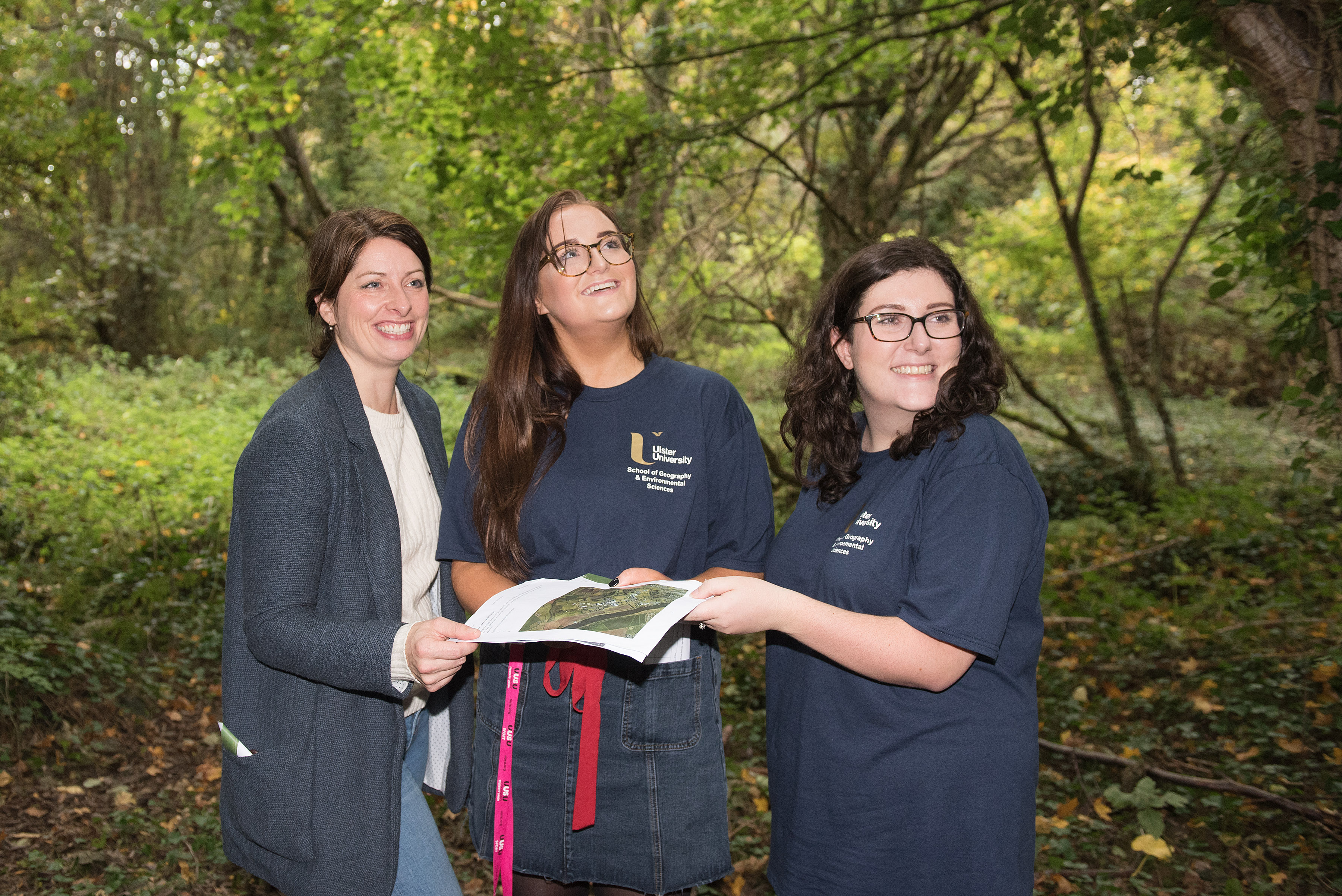 Karise Hutchinson with students at Coleraine walking trail