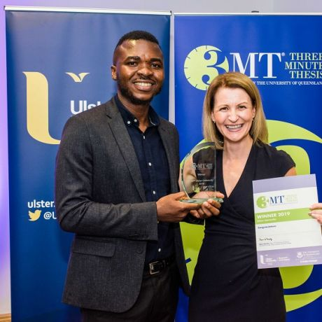 Oluwashina Akinsanmi named winner of Ulster University's 3MT® Final