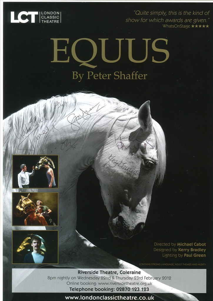 equus by peter shaffer essay The crucible and equus essay sample pages: 9 peter shaffer has used dysart's questioning nature in 'equus' to symbolise the changing attitude of society.