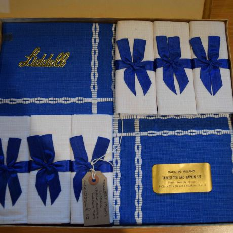 Original Box, table and napkin Set 'Liddell' Made in Ireland finest two-ply cotton. Cloth 52 x 68 and 6 Napkins 16 x 16. Royal Blue and White