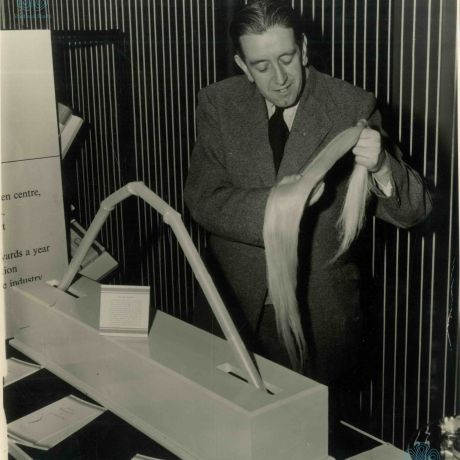 Photograph demonstrating the length of the linen fibre
