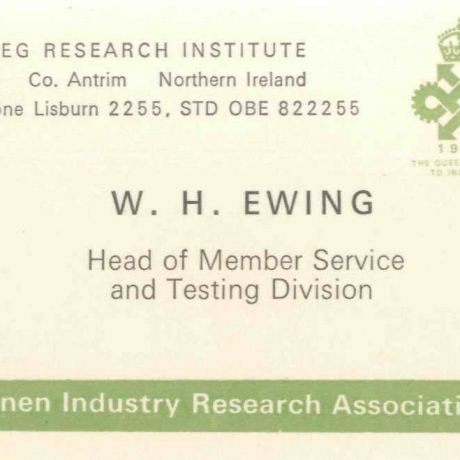 Business card for W.H. Ewing
