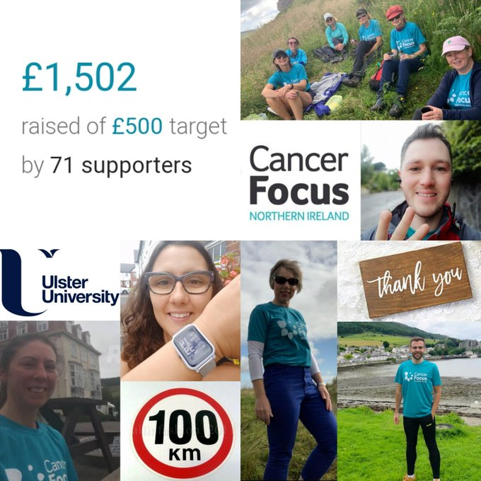Ulster University's CCRG raises over £1500 for Cancer Focus NI